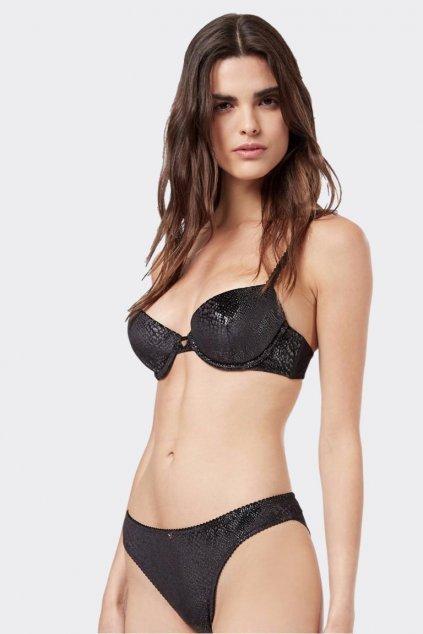 Emporio Armani Charming Velvet push-up podprsenka - černá
