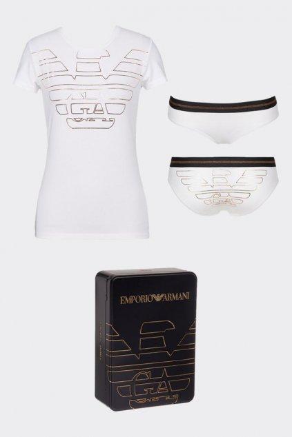 Emporio Armani dárkové balení tričko + kalhotky - bílá