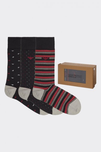 Emporio Armani dárkové 3- balení pánské ponožky - černá/červená