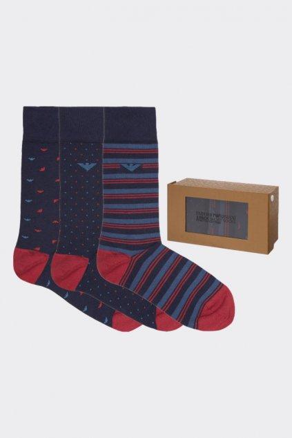 Emporio Armani dárkové 3- balení pánské ponožky - tmavě modrá, červená