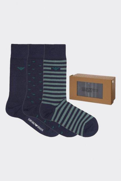 Emporio Armani dárkové 3-balení pánské ponožky - tmavě modrá, zelená