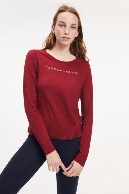 Tommy Original logo tričko s dlouhým rukávem dámské - vínová