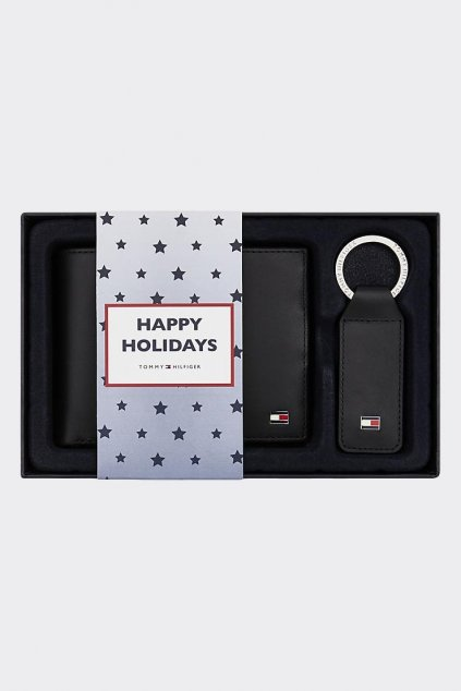 Tommy Hilfiger dárková sada peněženka + klíčenka - černá