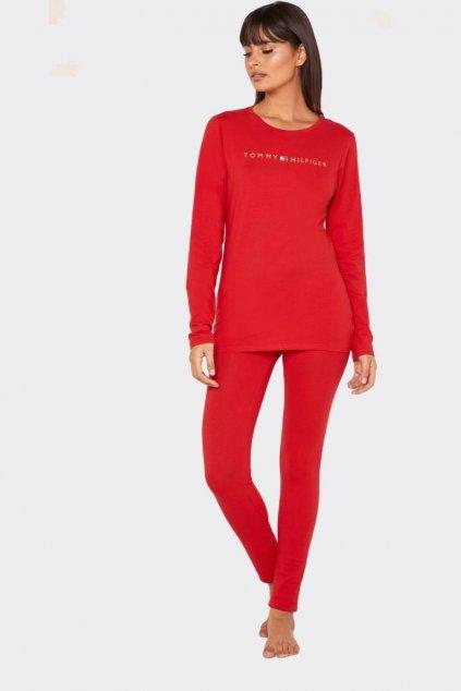 Tommy Hilfiger Original pyžamový vánoční set dámský - červená/zlatá