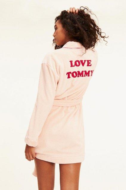 Tommy Hilfiger heboučký župan dámský- světle růžový