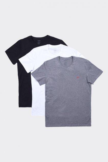 Diesel Logo trička pánská 3 balení - bílá, šedá, černá