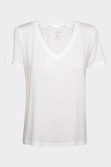 Calvin Klein Logo tričko V neck dámské - bílé
