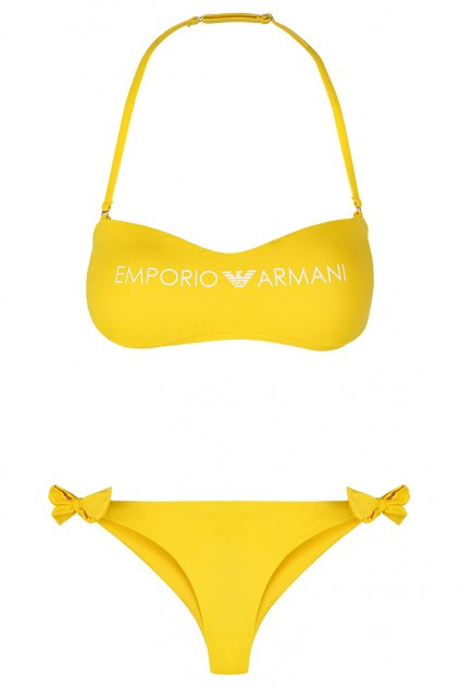 Emporio Armani lehce vyztužený vrchní díl plavek + brazilky - žlutá