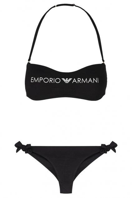 Emporio Armani Lehce vyztužený vrchní díl plavek + brazilky - černá