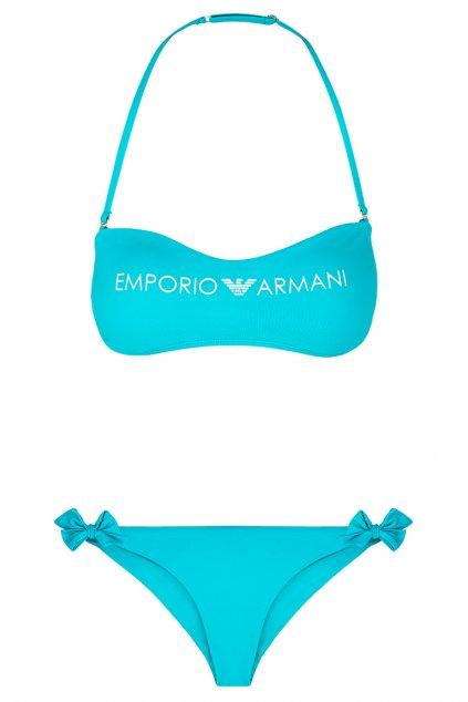 Emporio Armani lehce vyztužený vrchní díl plavek + brazilky - tyrkysová