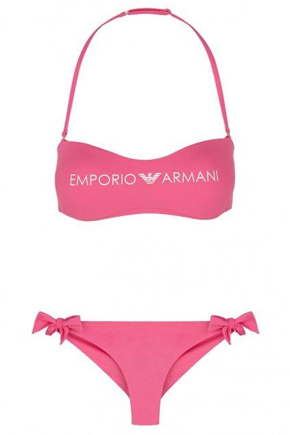 Emporio Armani Lehce vyztužený vrchní díl plavek + brazilky - růžová