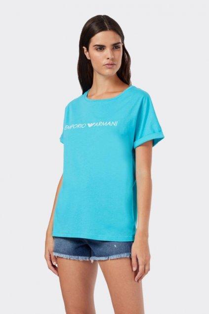 Emporio Armani Logo tričko- tyrkysové