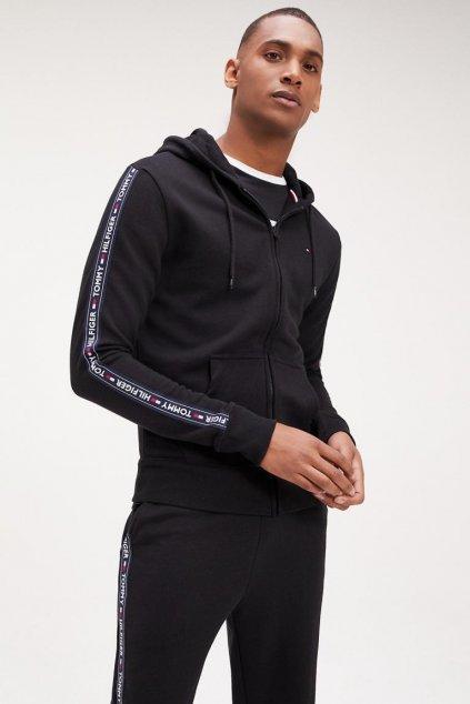 Tommy Hilfiger Side Logo mikina na zip pánská - černá