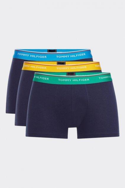 Tommy Hilfiger Premium Boxerky 3 balení tmavě modrá -  zelená, modrá, žlutá