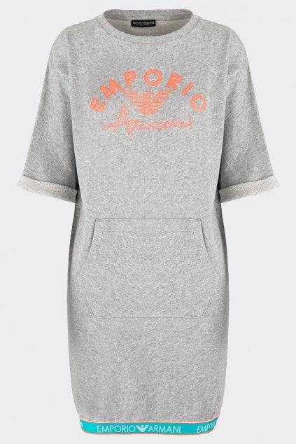 Emporio Armani iconic terry teplákové šaty - šedá