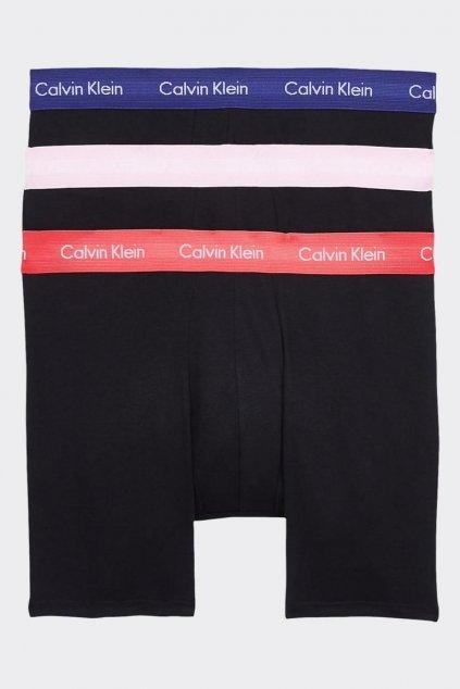 Calvin Klein Boxerky Premium 3 balení - černé/modrá, korálová, fialová