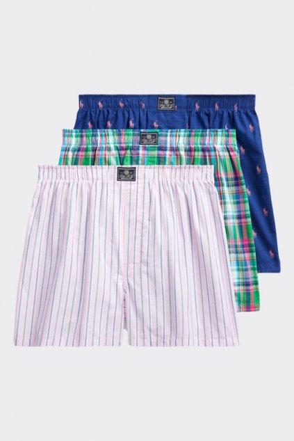 Polo Ralph Lauren trenýrky 3- balení - zelená, modrá, růžová