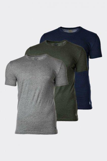Polo Ralph Lauren 3-balení pánských triček - šedá, khaki, modrá