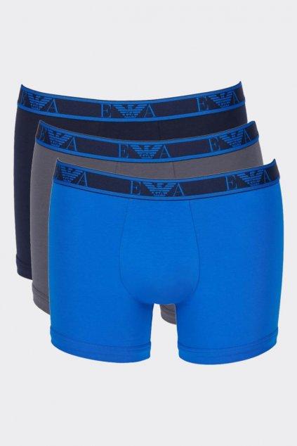 Emporio Armani monogram Boxerky 3-balení -  modrá, šedá