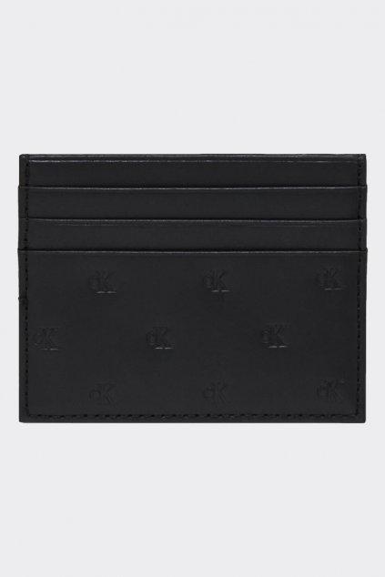 Calvin Klein kožené pouzdro na karty s monogramem pánské - černá