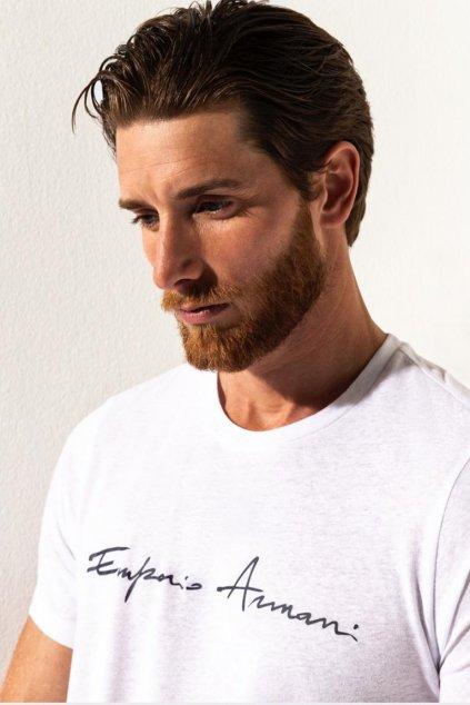 Emporio Armani lněné tričko pánské - bílé