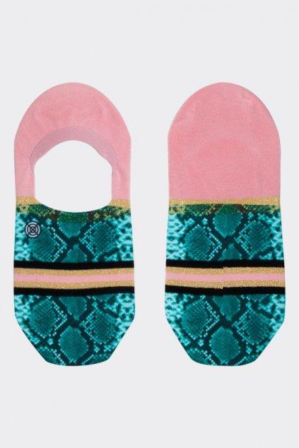 XPOOOS nízké ponožky dámské zvířecí vzor - zelená, růžová