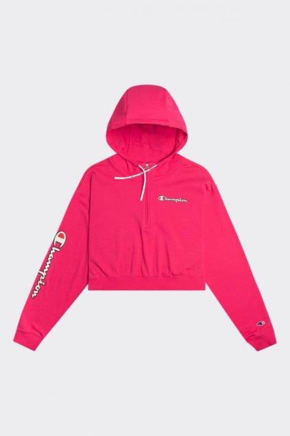Champion half zip mikina s kapucí - tmavě růžová