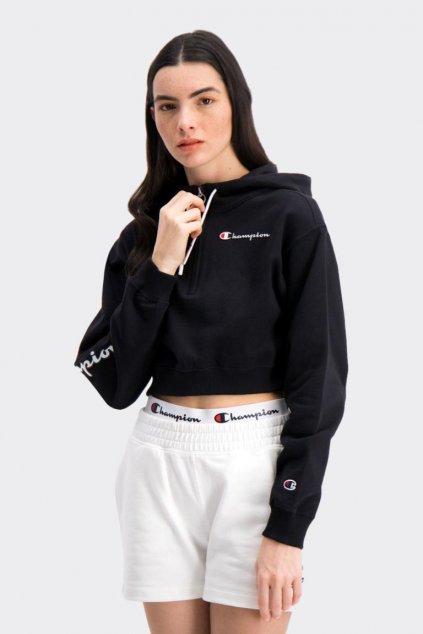 Champion half zip mikina s kapucí dámská - černá