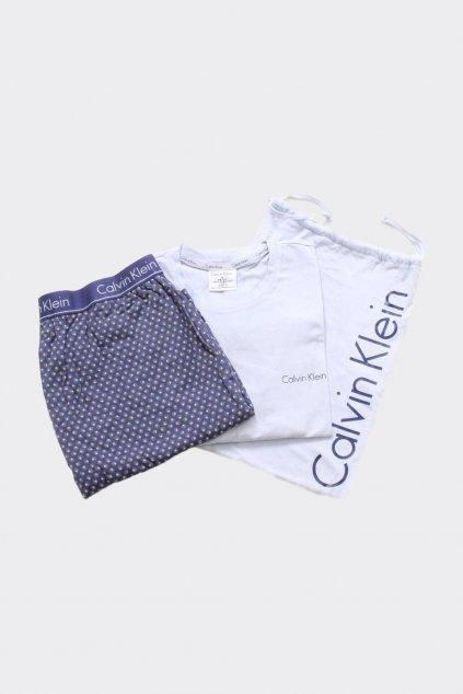 Calvin Klein Pyžamový set pánský v látkovém pytlíku - modrá