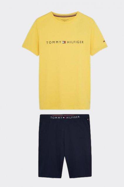 Tommy Hilfiger pánské pyžamo - žlutá/tmavě modrá