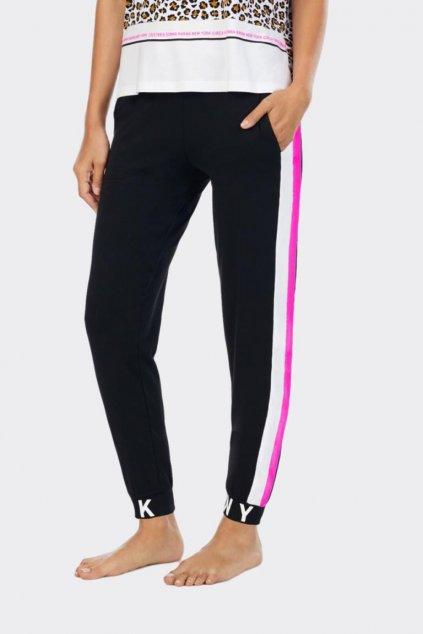 DKNY dámské tepláky - černé s růžovým pruhem
