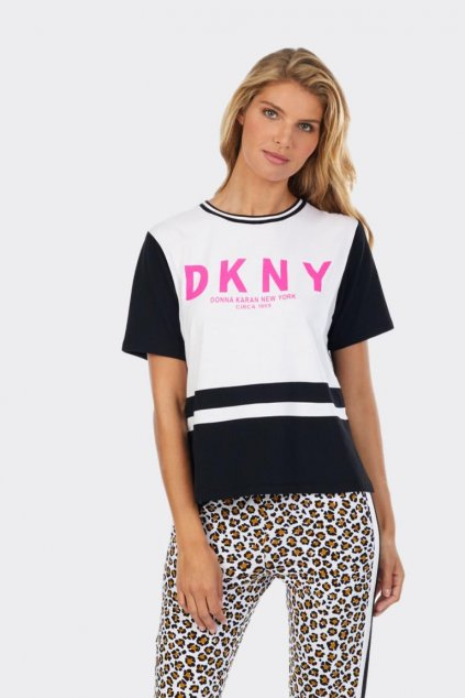 DKNY dámské tričko s růžovým nápisem - černá, bílá