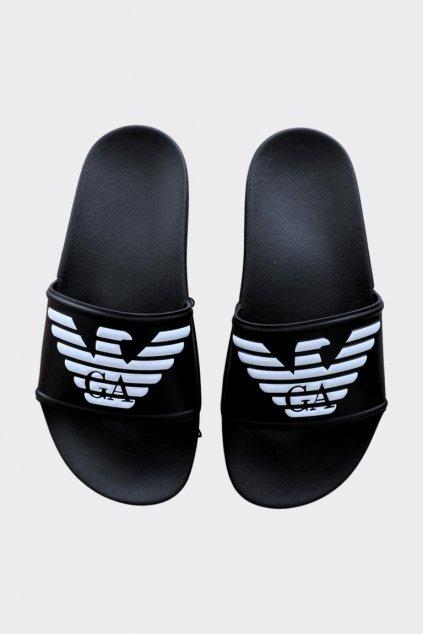 Emporio Armani logo pantofle dámské - černé