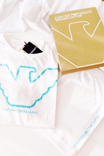 Emporio Armani set trička a šortek z organické bavlny - bílá