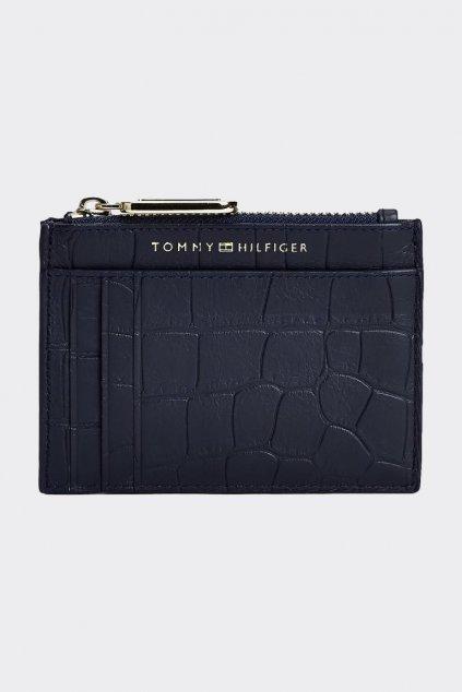 Tommy Hilfiger Crocodile card holder z pravé kůže - tmavě modrá