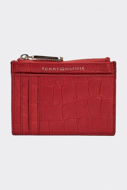Tommy Hilfiger Crocodile card holder z pravé kůže - červená