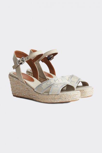Tommy Hilfiger boty na klínku dámské - béžová/stříbrná