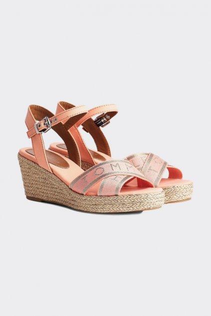 Tommy Hilfiger boty na klínku dámské - korálová