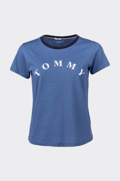 Tommy Hilfiger Slogan tričko dámské z organické bavlny- modré