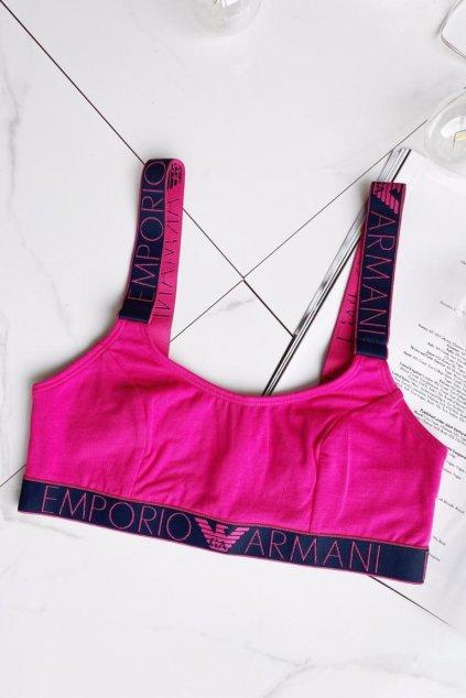Emporio Armani Logoband bralette podprsenka - růžová