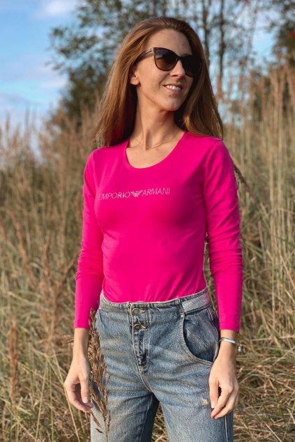 Emporio Armani Neo Romantic tričko s dlouhým rukávem dámské - růžové
