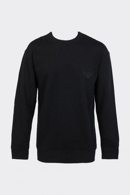 Emporio Armani terry logo mikina pánská - černá