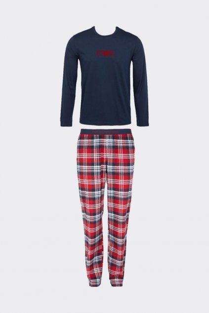 Emporio Armani flanelové pyžamo pánské - modrá, červená