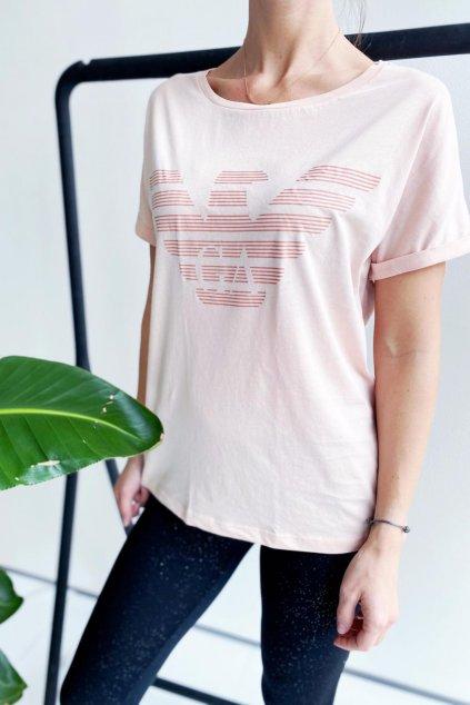 Emporio Armani tričko z organické bavlny dámské - růžová