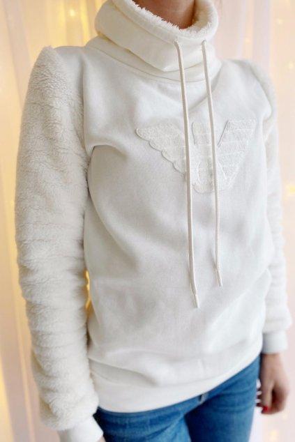 Emporio Armani Fuzzy Fleece mikina dámská - smetanová