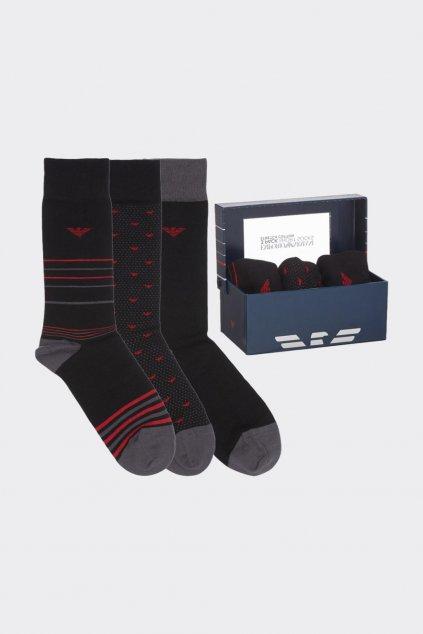 Emporio Armani dárkové 3-balení pánské ponožek - černá, červená
