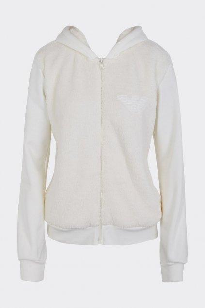 Emporio Armani Fuzzy Fleece plyšová mikina na zip dámská - smetanová