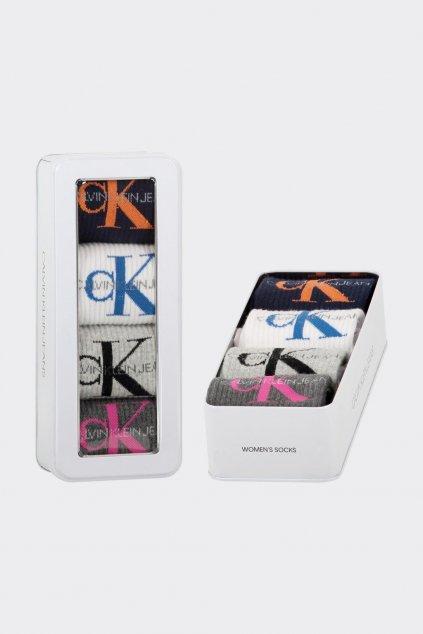 Calvin Klein dárkové balení ponožek 4 páry dámské  - šedá, bílá, černá