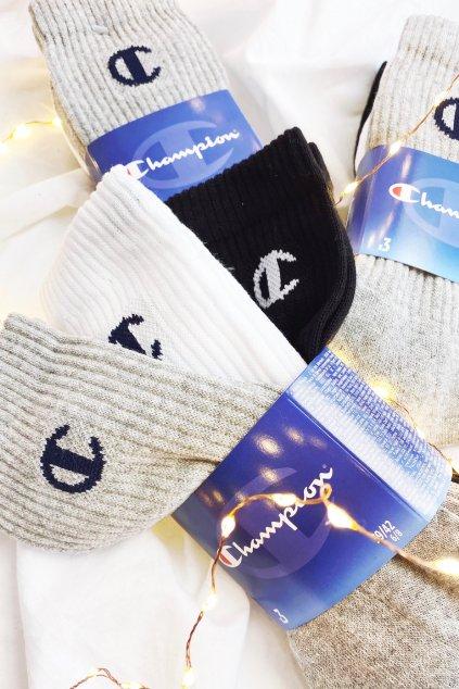 Champion ponožky 3-balení unisex - černá, bílá, šedá