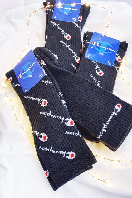 Champion vysoké ponožky 3-balení pánské - černá